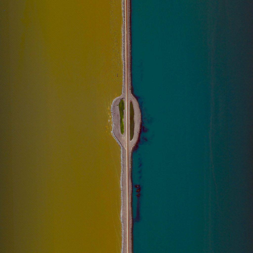 The Great Salt Lake's Railroad Causeway, Great Salt Lake, Utah, USA